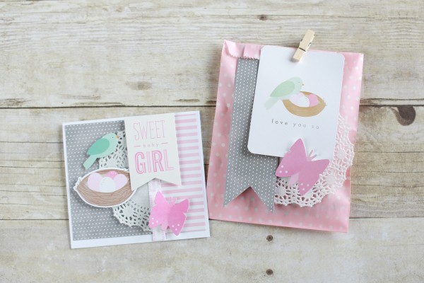 Handmade Baby Card and Gift Bag using @PebblesInc Special Delivery collection