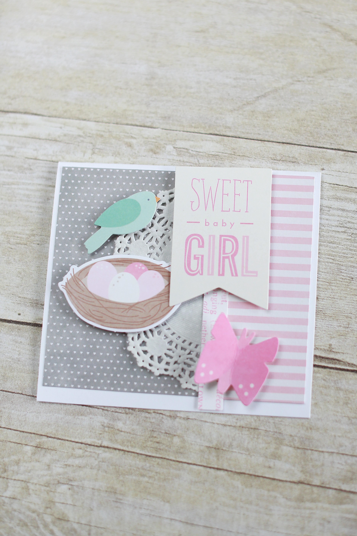 handmade baby card and bag  pebbles inc