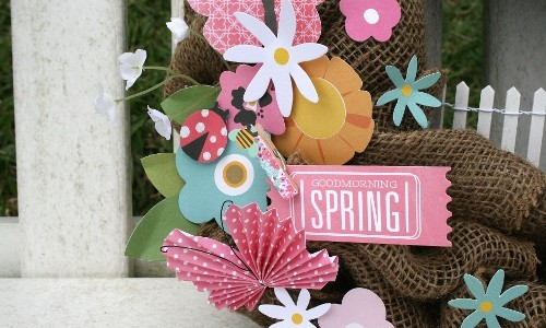 Spring wreath created using @PebblesInc Garden Party collection