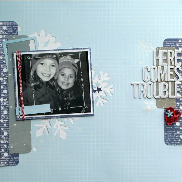 Here Comes Trouble scrapbook layout created using @pebblesinc Special Delivery collection #scrapbooking