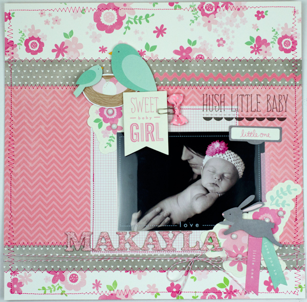 Baby scrapbook layout created by @tiffanyhood using @PebblesInc #SpecialDelivery collection #scrapbooking #baby