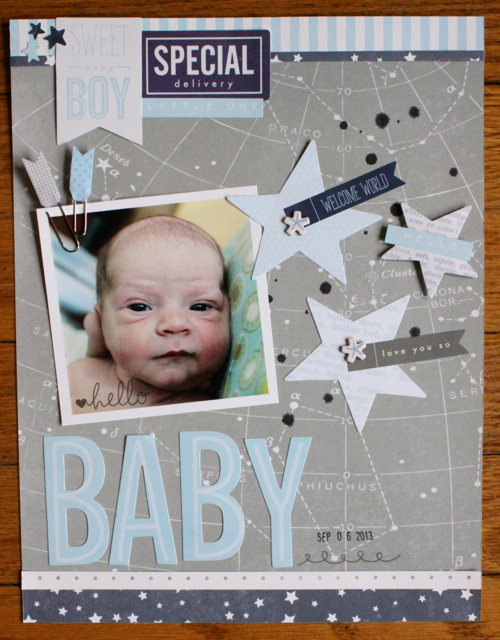 Baby boy scrapbook layout created with @pebblesinc #SpecialDelivery collection by @justem #scrapbooking