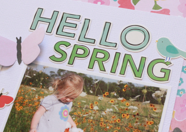 """Hello Spring"" scrapbook layout created by @beckywilliams using @PebblesInc Garden Party collection #spring #scrapbooking"