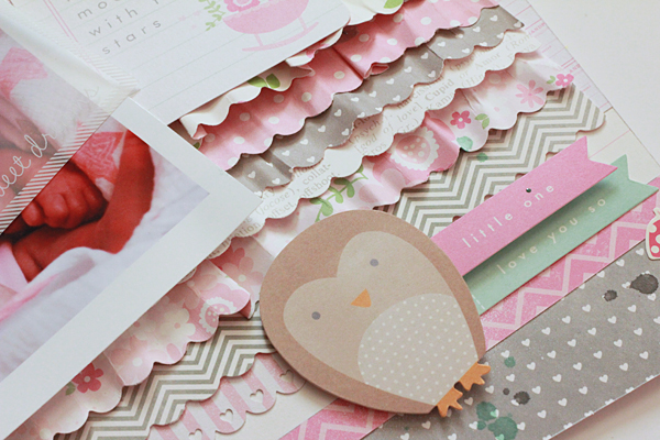 Baby girl scrapbook layout featuring @pebblesinc #SpecialDelivery collection by @beckywilliams #scrapbooking