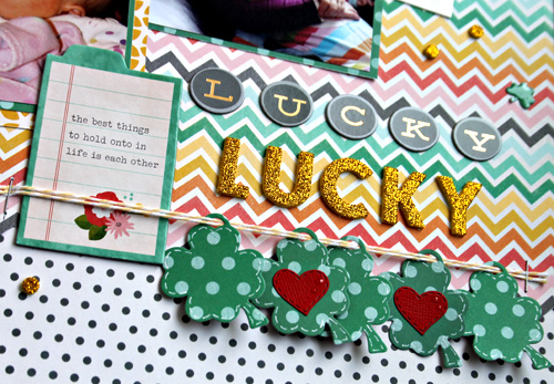 Lucky St. Patrick's Day layout created by @scrapn2lilprins using @Pebblesinc products #scrapbooking