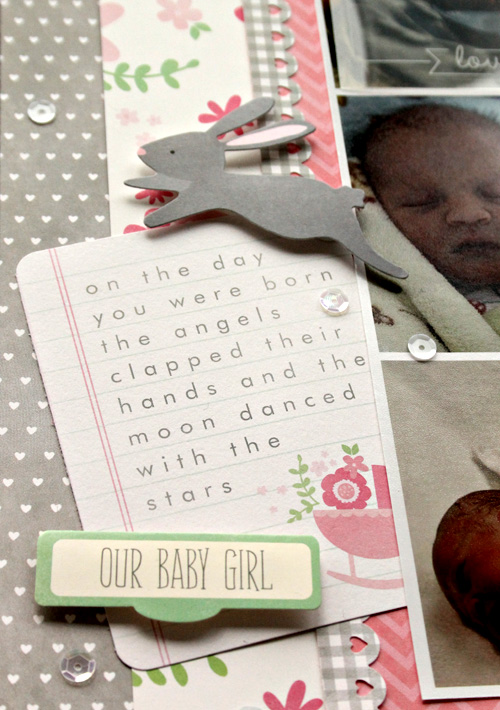 Baby girl scrapbook layout created by @scrapn2lilprins using @Pebblesinc Special Delivery collection #scrapbooking #baby #girl