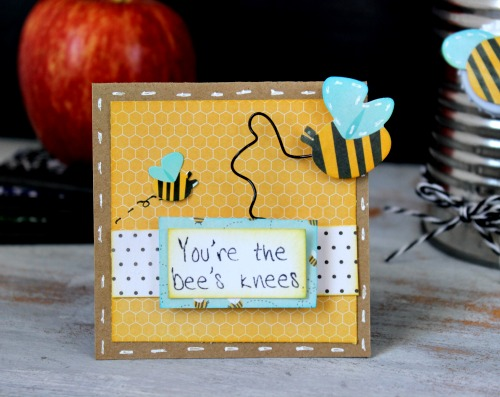 Teacher appreciation pencil holder and coordinating card via @ribbonsandglue for @pebblesinc using #GardenParty collection