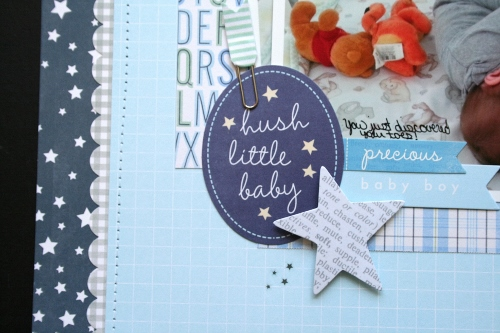 Baby boy scrapbook layout featuring @Pebblesinc Special Delivery Collection #scrapbooking #baby