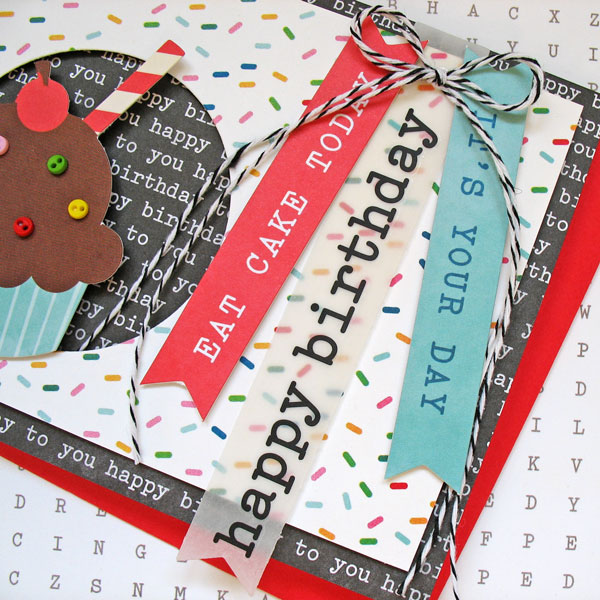 """Eat Cake"" handmade birthday card created by @kathymartin using @PebblesInc #birthdaywishes collection #handmade #birthday #card"
