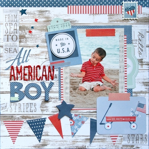 All American Boy scrapbook layout created by @antenucci for @PebblesInc #scrapbooking #patriotic #American
