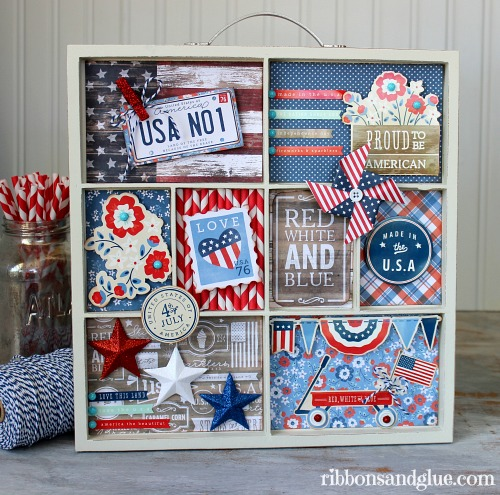 Patriotic memory tray created using @pebblesinc #Americana collection by @ribbonsandglue #scrapbooking #fourthofjuly #patriotic