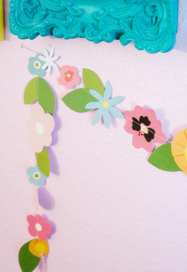 Flower garland created using @PebblesInc #GardenParty by @kimkesti #spring #garland #party