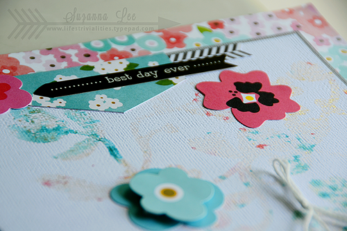 Floral scrapbook page layout created by @suzannalee72 for @pebblesinc using #GardenParty #scrapbooking #layout #flowers