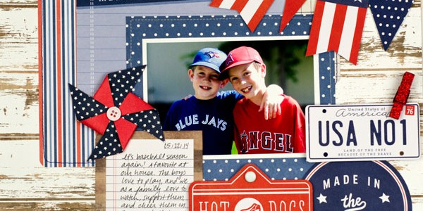 Baseball Themed Scrapbook Layout