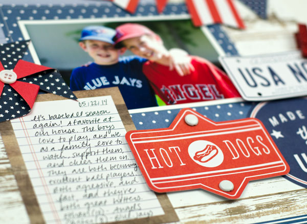 Baseball themed scrapbook layout created by @tiffanyhood using @PebblesInc #Americana collection #summer #layout #baseball