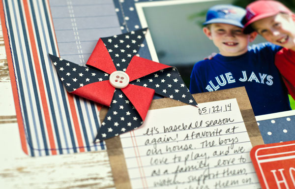 Baseball themed scrapbook layout created by @tiffanyhood using @PebblesInc #Americana collection #summer #layout #baseball