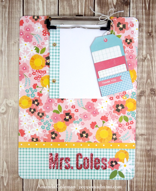 Embellished clipboard gift for teacher created by @popperandmimi for @PebblesInc using the #GardenParty collection #teacher #clipboard