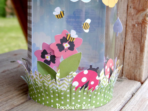 Summer bug jar for kids made with an old PB container and scrapbook paper by @popperandmimi for @PebblesInc #summer #kids #crafts