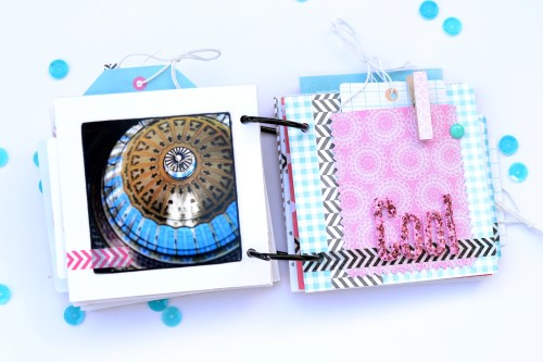 Travel mini album created by @scrappymermaid for @PebblesInc using the #GardenParty collection #scrapbooking #travel
