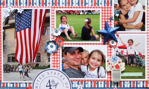 Red, White and Blue Scrapbook Layout