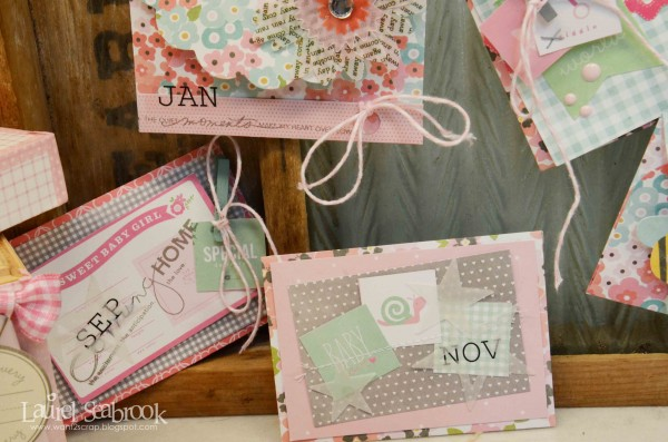 I used some pattern paper from Garden Party to cover the box, then finished off the seams with some Washi Tape.  As a final touch I added a journal card and sticker to the front.