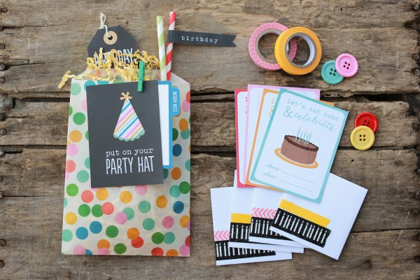 Mini birthday invitations by @pattykphoto using @PebblesInc #BirthdayWishes collection #birthday #handmade