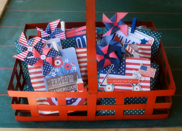 Festive patriotic treat bags made by @kimkesti for @PebblesInc using the #Americana line. #FourthofJuly #treatbags