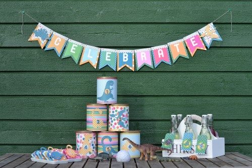 Dinosaur themed birthday party decor made by @scrappymermaid using the #birthdaywishes collection from @PebblesInc. #birthday #dinosaurs