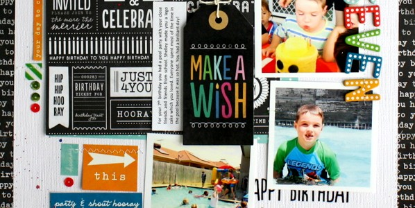 Birthday Scrapbook Layout with Rub-Ons