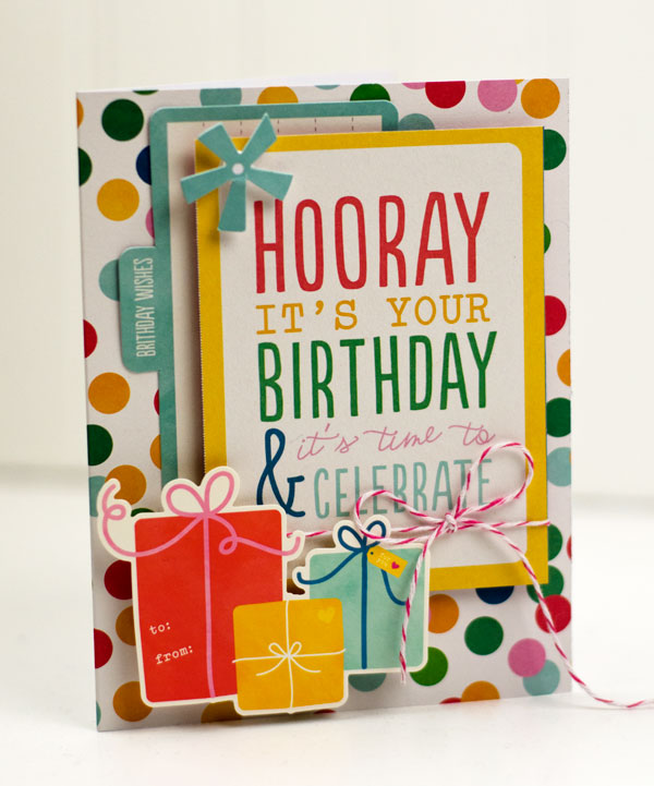 @tiffanyhood shows us how to make quick and easy birthday cards using the #BirthdayWishes line from @PebblesInc.