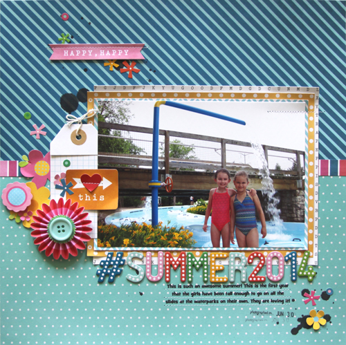 Summer layout ideas from @reneezwirek using #PebblesInc collection #BirthdayWishes. The bright color palette is perfect for sunshine and summertime!