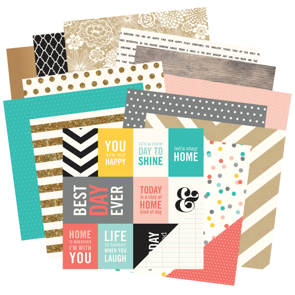 @PebblesInc and Jen Hadfield's newest collection: Home + Made featuring a stylish palette of coral, aqua, yellow and gray with dazzling gold and black accents.