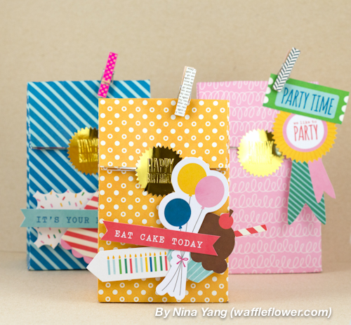 Versatile And Fun Birthday Gift Bags With Pops Of Color Made By Waffleflower Using