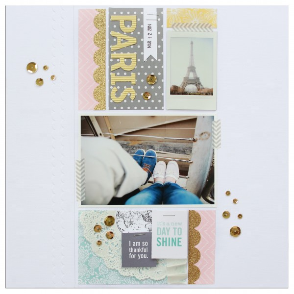 A beautiful and clean layout by guest designer Patricia Kumfer using the new Home+Made collection by @tatertotsjello and @PebblesInc.