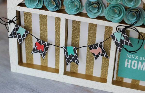 simple Home + Made banner strung on an altered memory tray by @ribbonsandglue  #pebblesinc