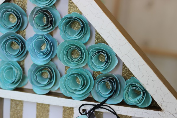 simple rolled flowers made from a #silhouetteamerica cut file using @pebblesinc Home + Made collection #ribbonsandglue