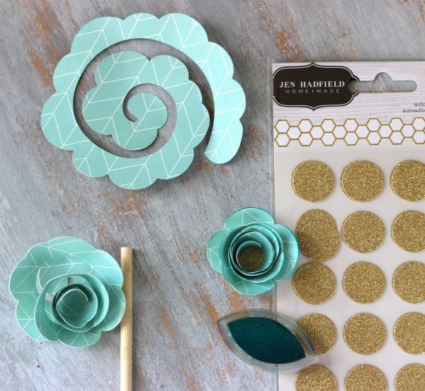 Rolled flowers made from the #jenhadfield collection for #pebblesinc by @ribbonsandglue