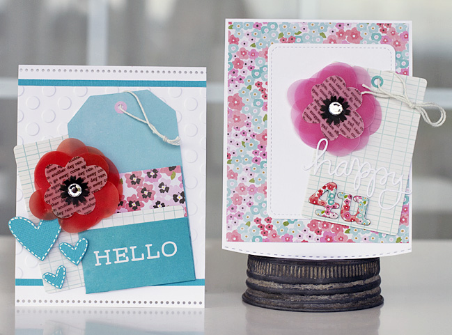 Beautiful and bright springtime cards made by @justlulu using the #GardenParty collection from @PebblesInc.
