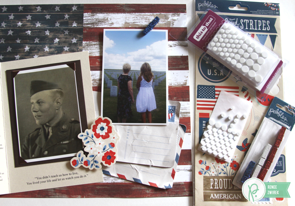 Remembering and honoring loved ones who served in the military with this patriotic layout by @reneezwirek using the #Americana collection from @PebblesInc.