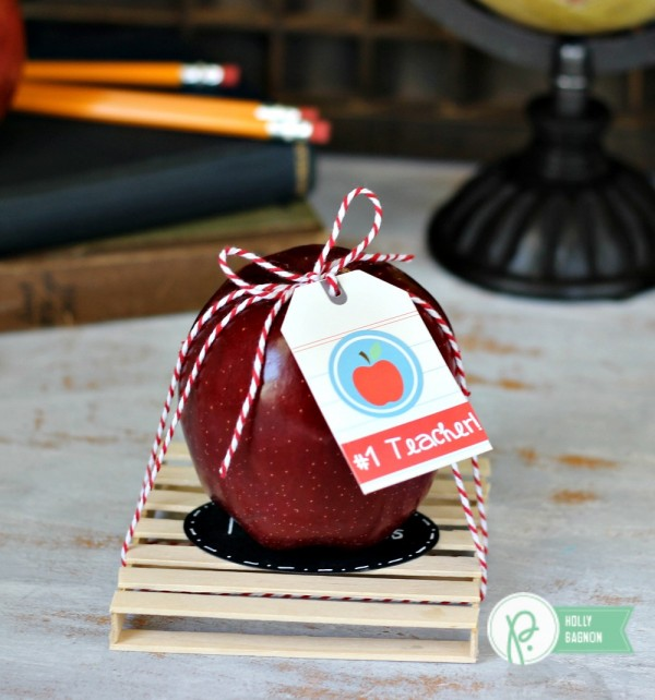Apple Teacher Gift made from @pebblesinc Back to School collection by @ribbonsandglue