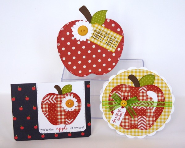 Pebbles Apple themed cards with weaving tutorial by Mendi Yoshikawa using #Basics Collection from @PebblesInc. @MendiYoshikawa