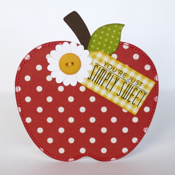 Pebbles Apple themed card by Mendi Yoshikawa using #Basics Collection from @PebblesInc. @MendiYoshikawa