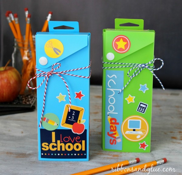 Easy altered Pencil Boxes by @ribbonsandglue using #pebblesinc #backtoschool stickers.  #target
