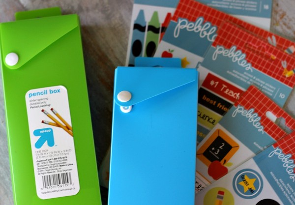 Altered #target Pencil Boxes using #pebblesinc #bacltoschool stickers @ribbonsandglue