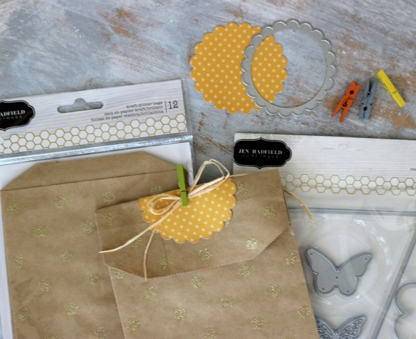 @pebblesinc homemade dies and #jenhadfield glitter kraft bags by @ribbonsandglue
