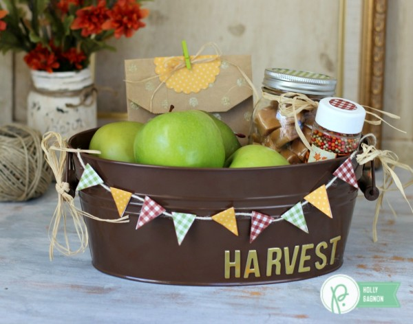 Fall Harvest Tin made with @pebblesinc Basics and @jenhadfield #homemade dies and kraft bags by @ribbonsandglue