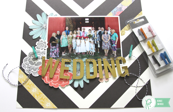 add a title to your project by hanging the letters on a line with clothespins like in this Wedding layout by @reneezwirek using the #JHHomeMade collection by @Pebbles Inc. and @Tatertots and Jello .com