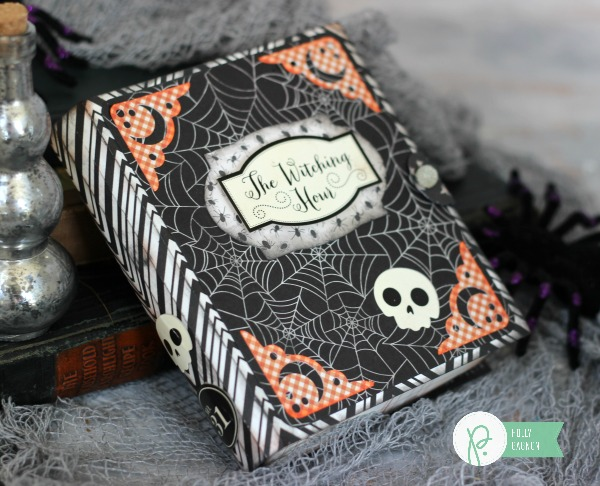 Spooky Book Box made with @pebblesinc Thirty One collection by @ribbonsandglue