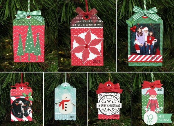 Christmas Tag Ornaments by Mendi Yoshikawa using the #HomeForChristmas collection from @PebblesInc. @SnippetsByMendi