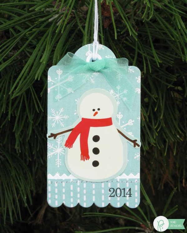 Christmas Tag Ornament by Mendi Yoshikawa using the #HomeForChristmas collection from @PebblesInc. @SnippetsByMendi